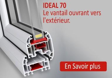 IDEAL 70 - LA FENETRE PVC SUR MESURE A OUVERTURE VERS L'EXTERIEUR
